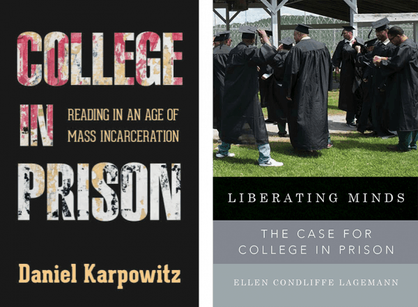 Book Covers of College in Prison by D. Karpowitz and Liberating Minds by E. Lagemann