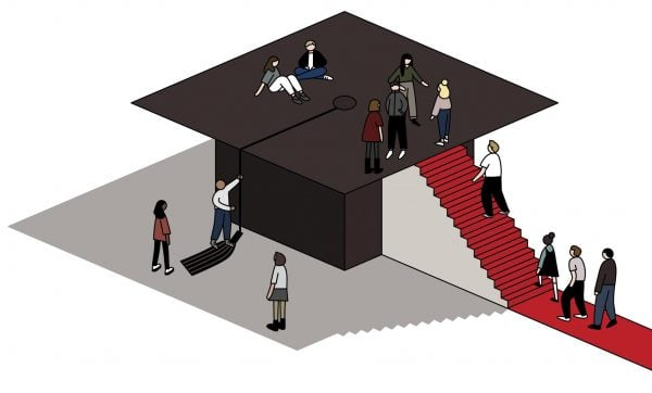 Illustration of people climbing a red-carpet covered staircase leading to the top of a graduation cap.