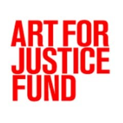 Art for Justice Fund logo in all uppercase red