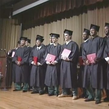 Students receiving awards at Commencement ceremony