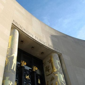 View of the entrance to the Brooklyn Public Library