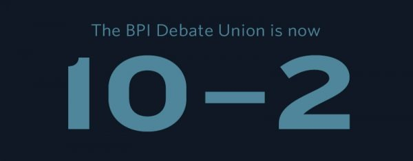 The BPI Debate Union is now 10-2