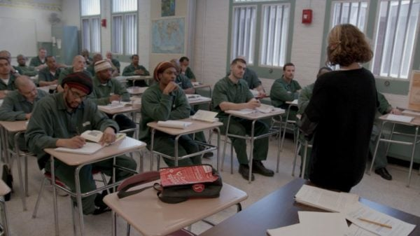 BPI students in a classroom, film still from 'College Behind Bars'