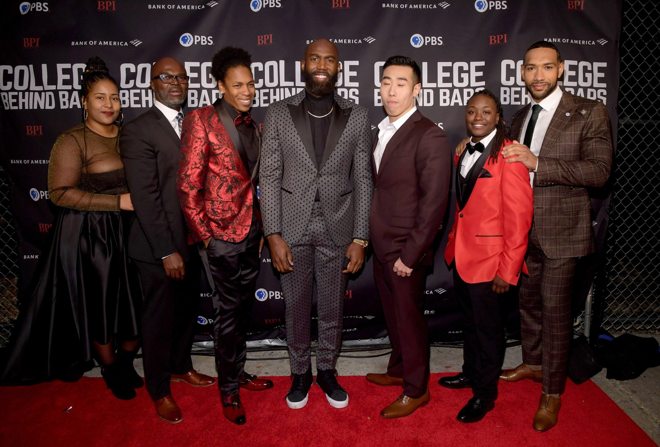Shawnta Montgomery, Wesley Caines, Tamika Graham, Malcolm Jenkins, Sebastian Yoon, Tamara Barley and Dyjuan Tatro attend the special screening of COLLEGE BEHIND BARS at The Apollo Theater on November 12, 2019 in New York City.