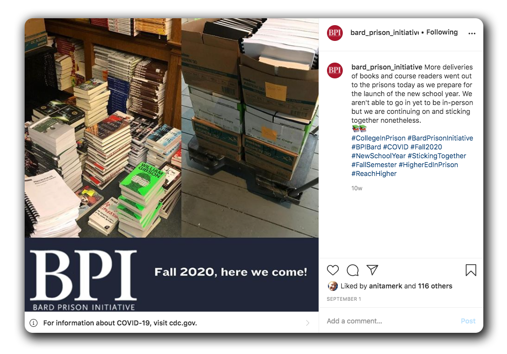 Facebook post with books for class.