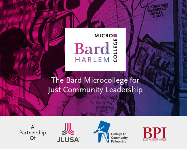"""Photo of a Harlem mural in the background with a the Bard Microcollege Harlem logo in front and the words """"The Bard Microcollege for Just Community Leadership"""""""